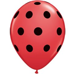 "11"" Printed Latex Balloons, Big Polka Dots Red & Black, Qualatex 29511, Pack of 25 Pieces"