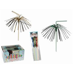 Plastic drinking straw with glitter strips  - 24cm, Radar OT62/0975, Set 8 buc
