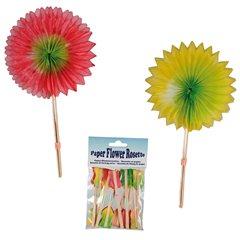 Paper flower rosette on wooden stick - 14cm, Radar OT62/0973, Pack of 12 pieces