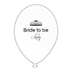 Bride to Be Lucky Printed Latex Balloons, Radar GI.BTBL.WBK