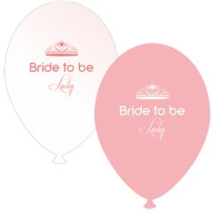 Baloane latex asortate pentru burlacite - Bride to Be Lucky, Radar GI.BTBL.PINK/WH