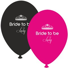 Baloane latex asortate pentru burlacite - Bride to Be Lucky, Radar GI.BTBL.BK/FUCHSIA