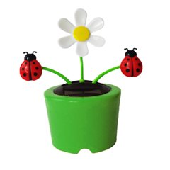 Movable flowers & insects in plastic pot with solar cell - 11cm, Radar OT57/9754