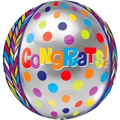 Balon folie orbz sfera Congratulation - 40cm, Amscan 28373