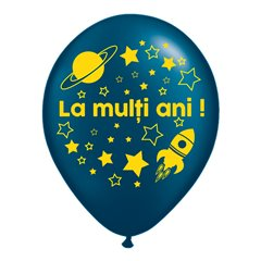 "Blue Latex Balloons Printed with ""La multi ani!"", Radar GI.LMA.ASTRO.BLUE"