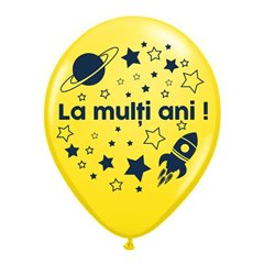 "Yellow Latex Balloons Printed with ""La multi ani!"", Radar GI.LMA.ASTRO.YELLOW"