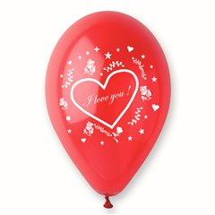 "Latex Balloons Printed with ""I love you"", Radar GI.LOVE.RED.T4"