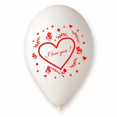 "Latex Balloons Printed with ""I love you"", Radar GI.LOVE.WH.T4"
