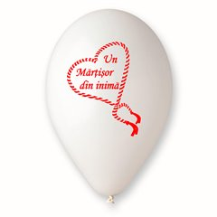 "Baloane latex albe inscriptionate ""Martisor"", Radar GI.MARTISOR"