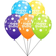 Buchet din baloane latex asortate Happy Birthday cu heliu, Radar BB.Q96899