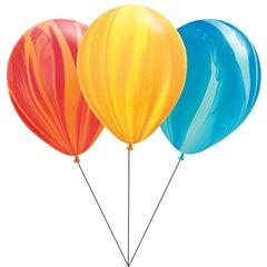 Buchet din baloane latex SuperAgate asortate cu heliu, Qualatex BB.Q91544
