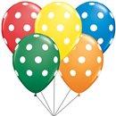 Buchet din baloane latex asortate cu heliu - buline albe, Qualatex BB.Q17316