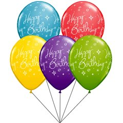 Buchet din baloane latex asortate Happy Birthday cu heliu, Qualatex Q19166
