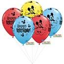 Buchet din baloane latex asortate Mickey Mouse cu heliu, Qualatex BB.Q18704