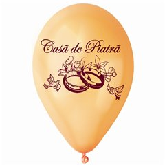 "Peach Latex Balloons Printed with ""Casa de Piatra"", Radar GMI.CP.PEACH"