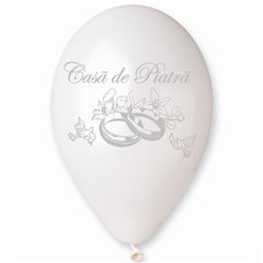 "White/Silver Latex Balloons Printed with ""Casa de Piatra"", Radar GMI.CP.WH/SILV"