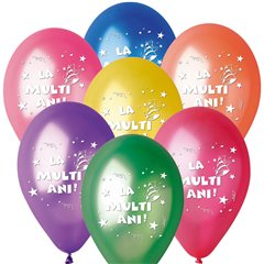 """La multi ani!"" Assorted Printed Metallic Latex Balloons, Radar GMI.LMA.T2"