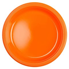 Farfurii orange din plastic - 18cm, Amscan 552284-05, Set 10 buc