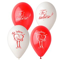 "Latex Balloons Printed with ""Te Iubesc"" - 10""/26cm, Radar GI.TI"