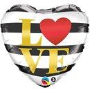 """Heart Foil Balloon Love - 18""""/45cm, Qualatex 21748"""