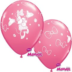 "Baloane latex 12"" inscriptionate Minnie Mouse, Qualatex 19230, Set 6 buc"