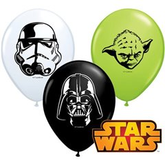 "11"" Printed Latex Balloons - Star Wars Bday, Qualatex 18669, Pack of 25 Pieces"