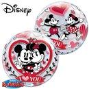 "Minnie & Mickey I love You Bubble Balloon - 22""/56cm, Qualatex 21892"