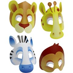 Masti copii pentru petrecere Animale Safari, Amscan RM500153, Set 8 buc