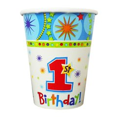 Pahare carton 1st Birthday - 250ml, Amscan 589292, Set 8 buc