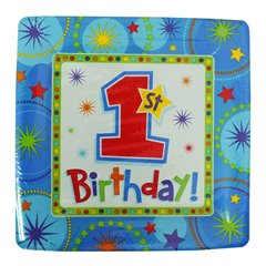Farfurii carton 1st Birthday pentru petrecere - 26cm, Amscan 599292, Set  8 buc