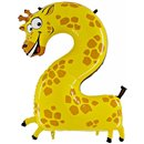 Number 2 Giraffe Supershape Foil Balloon - 102 cm, Radar GB42-0W