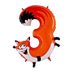 Number 3 Fox Supershape Foil Balloon - 102 cm, Radar GB43-0W