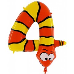 Number 4 Snake Supershape Foil Balloon - 102 cm, Radar GB44-0W