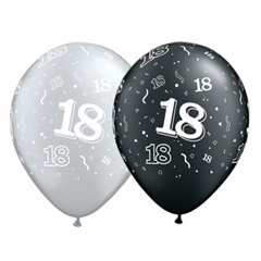 "Latex Balloons 11"" Silver & Black 18 years, Qualatex 25064"