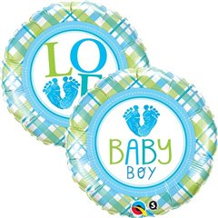 "18"" Round Foil Baby Boy Love, Qualatex 25726"