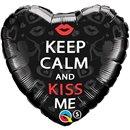"""18"""" Keep Calm and Kiss Me Foil Balloon, Qualatex 21813"""