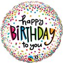 "18"" Round Foil Balloon Birthday Sprinkled Dots, Qualatex 28126"