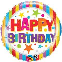 Balon Folie 45 cm  Happy Birthday Stelute, Qualatex 16770