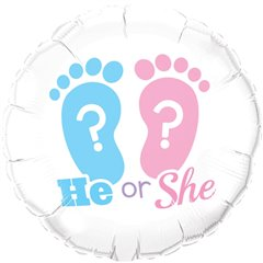 "18""  Round Foil He Or She? Footprints, Qualatex 17079"