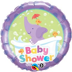 "18"" Round Foil Balloon Baby Shower Elephant, Qualatex 13912"