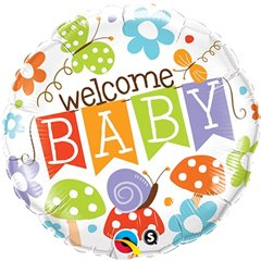 "18"" Round Foil Welcome Baby Banner Garden, Qualatex 25210"
