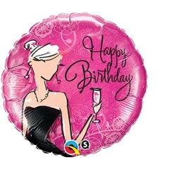 "18"" Round Foil Birthday Black Dress, Qualatex 45330"