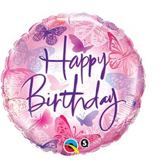 Balon Folie 45 cm Happy Birthday Fluturasi, Qualatex 45345