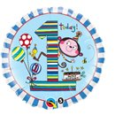 "18"" Round Foil Rachel Ellen Age 1 Monkey Stripes, Qualatex 22979"