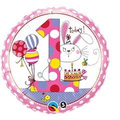 "18"" Round Foil Rachel Ellen Age 1 Bunny Polka Dots, Qualatex 22615"