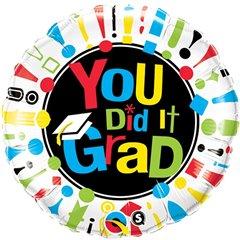"18"" Round Foil You Did It Grad!, Qualatex 24112"