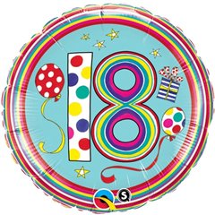 Balon Folie 45 cm 18 ani, Qualatex 50308