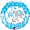 Balon Folie 45 cm It's a Boy Elephants, Qualatex 45109