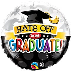 "18"" Round Foil Hats Off To The Graduate!, Qualatex 93214"