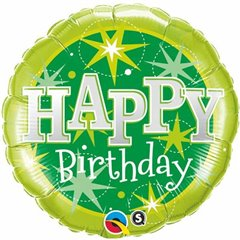 Balon Folie 45 cm Happy Birthday Verde, Qualatex 37924
